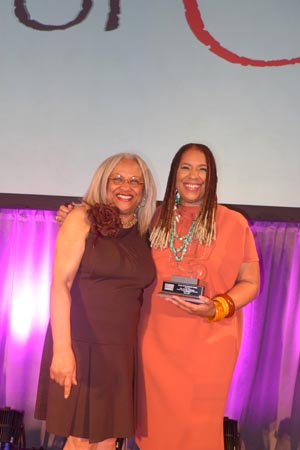 Ayoka Chenzira, recipient of the Legacy Award and Jane Smith, founder of the Women of Color Conference, Spelman College.